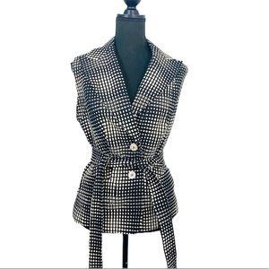 Escada Sleeveless Belted Blazer Black/White 42